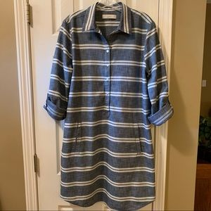 Loft Chambray and ivory striped dress, 10, EUC